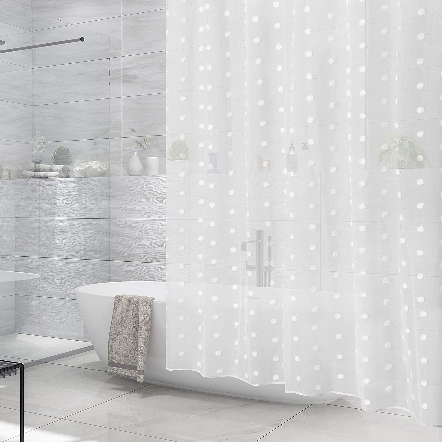 Barossa Design Sheer Shower Curtain Light-We Soft Now on Memphis Mall sale Poms Pom with