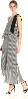 Halston Heritage Women's One Shoulder Mini Stripe Flowy Dress