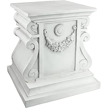 Design Toscano Classic Statuary Garden Plinth Base Riser, Large 15 Inch, Polyresin, Antique Stone