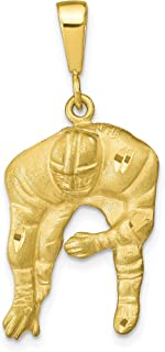 Solid 10k Yellow Gold Lineman in Stance Football Pendant 34x16mm