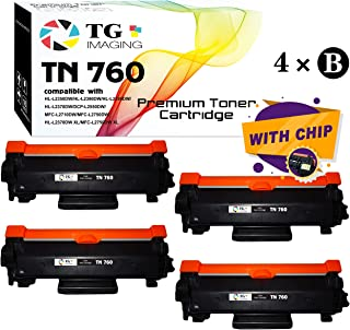 (New Chip, 4-Pack) Compatible High Page Yield TN760 TN-760 Toner Cartridge, for Brother DCP-L2550D MFC-L2750DW HL-L2370DW Printer, Sold by TG Imaging