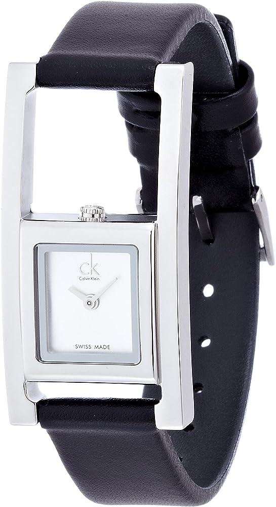 Calvin klein, orologio analogico al quarzo per donna,cassa in acciaio inossidabile e  cinturino in pelle K4H431C6