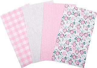 Trend Lab Flannel Burp Cloth Set, Pink Floral, (Pack of 4), 103582