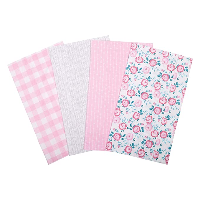 flannel Burp Rag Bugs with Teal Back and Pink Trim reversible