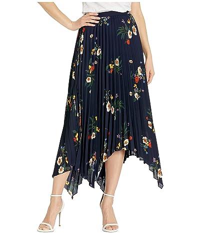 Vince Camuto Surreal Garden Asymmetrical Hem Pleated Skirt (Caviar) Women