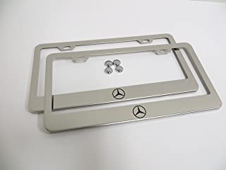2 Pieces Mercedes Logo Stainless Steel Chrome License Plate Frame Tag Holder