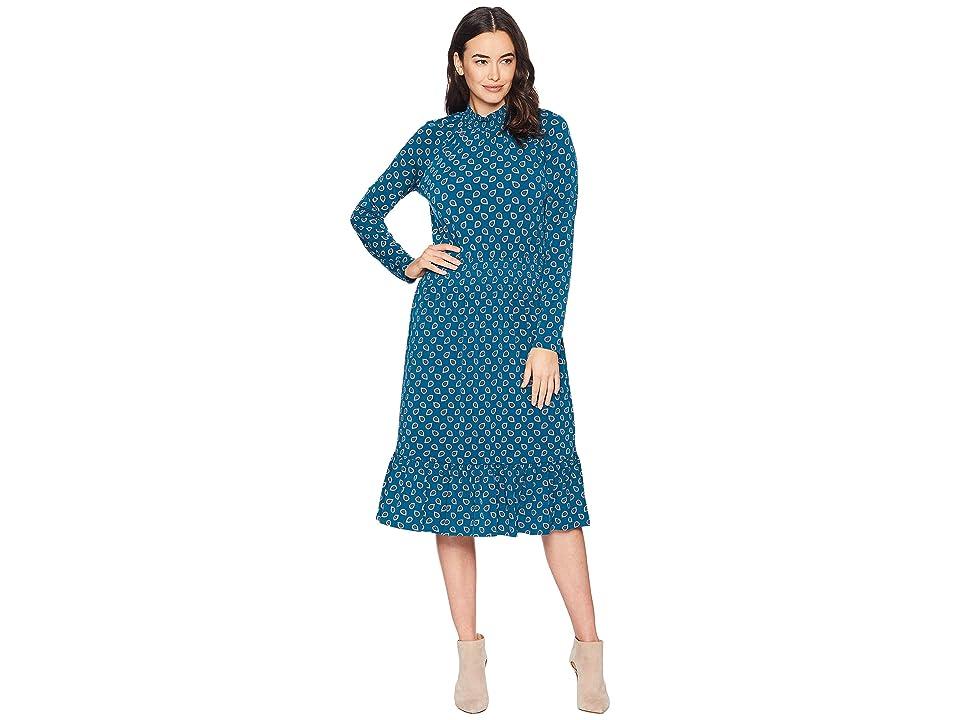 MICHAEL Michael Kors Foulard Smock Neck Dress (Black/Luxe Teal) Women