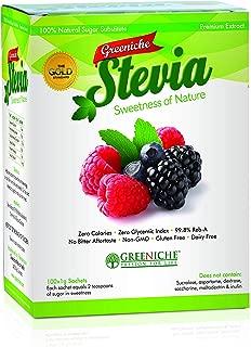 Greeniche Stevia Sachet 100's - Powdered Sugar Stevia Sweetener - Zero Calorie Sugar Repalcement - No Bitter Aftertaste