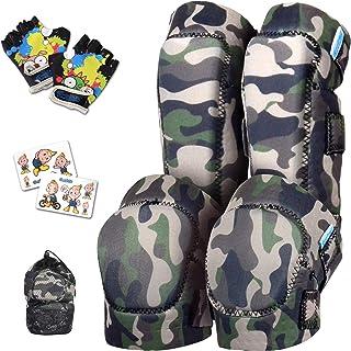 Innovative Soft Kids Knee and Elbow Pads with Bike Gloves | Toddler Protective Gear Set w/Mesh Bag | Roller-Skating, Skate...