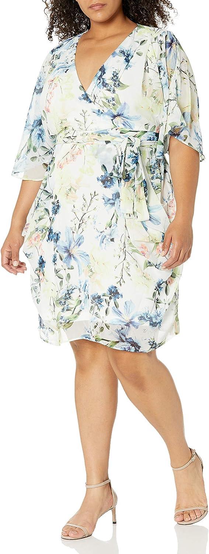 City Chic Women's Apparel Women's Plus Size Faux Wrap Dress with Hip Drape Detail