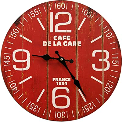 Round Red Cafe France Decorative Clock 13 x 13 inches Quartz movement