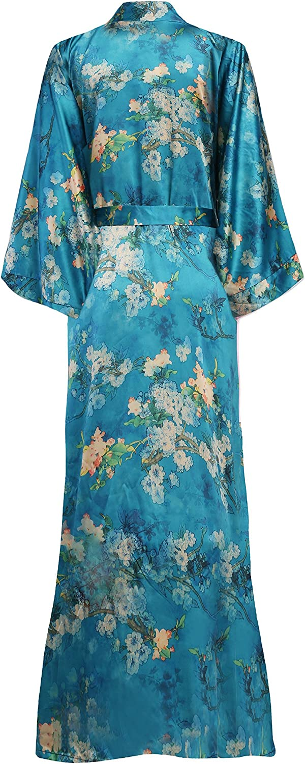 ArtiDeco Damen Morgenmantel Maxi Lang Kimono Strandkleid Blüten Gedruckt Strickjacke Kimono Bademantel Damen Lange Robe Blumen Schlafmantel Girl Pajama Party Malachitgrün