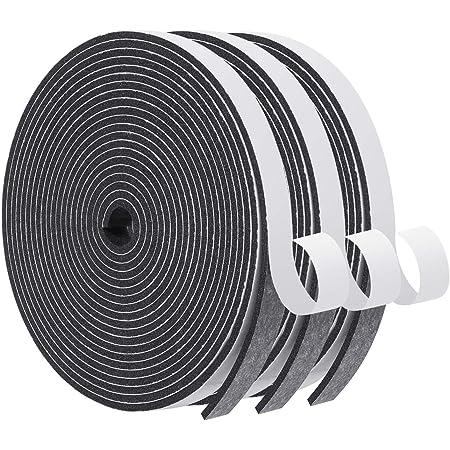 Foam Seal Tape-3 Rolls, 1/2 Inch Wide X 1/8 Inch Thick High Density Foam Strip Self Adhesive Neoprene Rubber Door Weather Stripping Insulation Foam Window Seal Total 50 Feet Long (16.5ft x 3 Rolls)