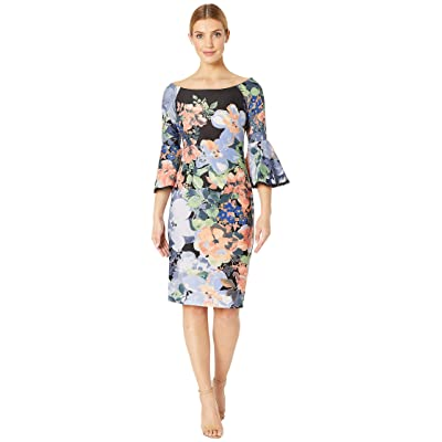 Gabby Skye Scuba Midi w/ Lace Edging (Black/Peach Multi) Women