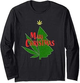Marijuana Christmas Weed Tree Cannabis Holiday Stoner Gift Long Sleeve T-Shirt