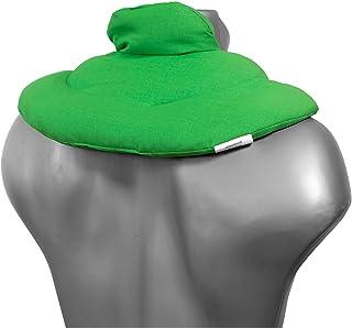 Almohada térmica cervical con cuello. Verde claro. Cojín con pepitas de uva. Cojín de nuca. Saco de calor y frio con semillas