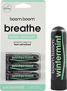 Aromatherapy Nasal Inhaler (3 Pack) by BoomBoom | Enhances Breathing + Boosts Focus | Breathe Vapor Stick Provides Fresh C...