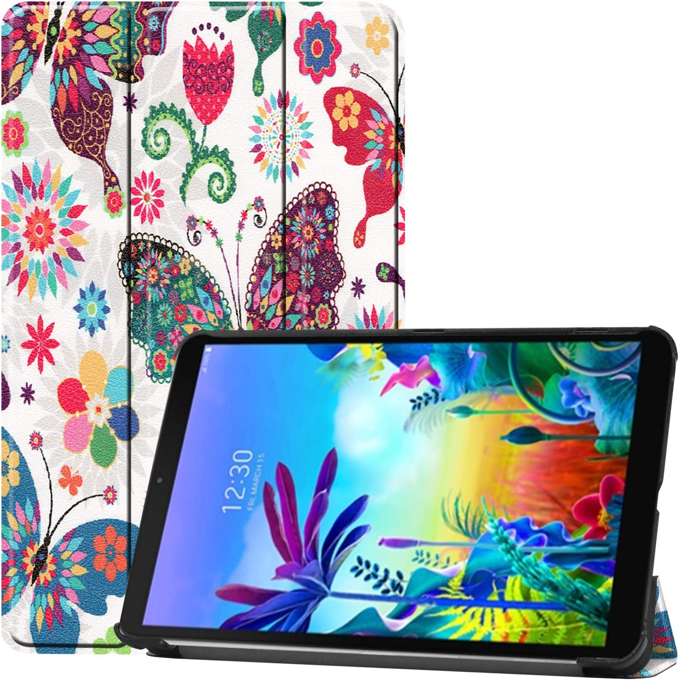Gylint LG G Pad 5 10.1 Case, Smart Case Trifold Stand Slim Lightweight Case Cover for LG G Pad 5 10.1 Inches Tablet 2019 Release, Model:LM-T600L, T600L Butterfly