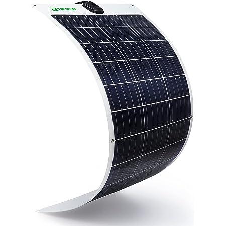 Topsolar Flexible Solar Panel 100W 24V/12V Monocrystalline Bendable - 100 Watt 12Volt Semi-Flexible Mono Solar Panels Charger Off-Grid for RV Boat Cabin Van Car Uneven Surfaces