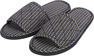 Non-Disposable Indoor Slippers for Women Men, Open Toe Grid Cotton Spa Hotel Slippers Portable Slip On Home Guest Travel Slippers Sandals Anti Slip Sole