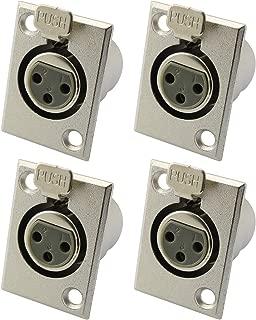 Partstock 4pcs XLR 3-Pin Female Jack Socket Audio Speaker Panel Mount Connector Adapter for Microphone