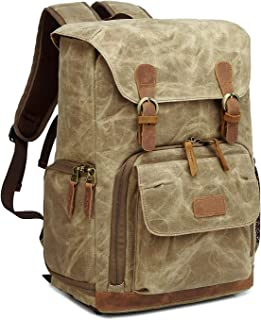 G-raphy Camera Backpack Waterproof Waxed Canvas for DSLR SLR Cameras,Laptops,Lenses and Tripod