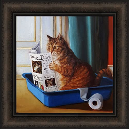 Home Cabin Decor Kitty Throne By Lucia Heffernan 18x18 Cat Toilet Litter Box Bathroom Reading Newspaper