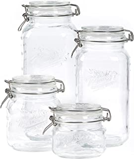 Mason Craft & More Airtight Kitchen Food Storage Clear Glass Clamp Jars, 4 Piece Clamp Preserving Jar Set (.5L, 1L, 2L, and 3L)