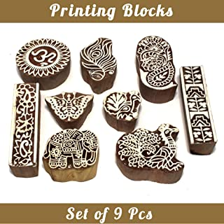 Asian Hobby Crafts Baren Handcarved Wooden Blocks for Stamping, Block Printing on Textiles, Pottery Crafts,Henna, Scrapbooking, Wall Painting: Set of 9pcs (Design B)