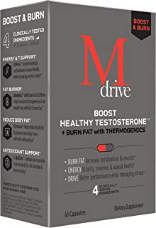 Mdrive Boost and Burn Testosterone Booster and Fat Burner for Men, Natural Energy, Strength, Stress Relief, Lean Muscle wi...
