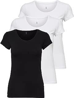 ONLY 3er Pack Damen T-Shirt Schwarz Oder Weiß Kurzarm Lang Basic Sommer T-Shirts XS S M L XL Gratis Wäschenetz von B46