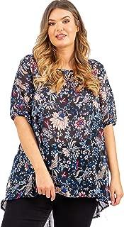 LOVEDROBE GB Femmes Plus Taille Bleu Marine Floral Chauve-souris Top Avec Volants Détail