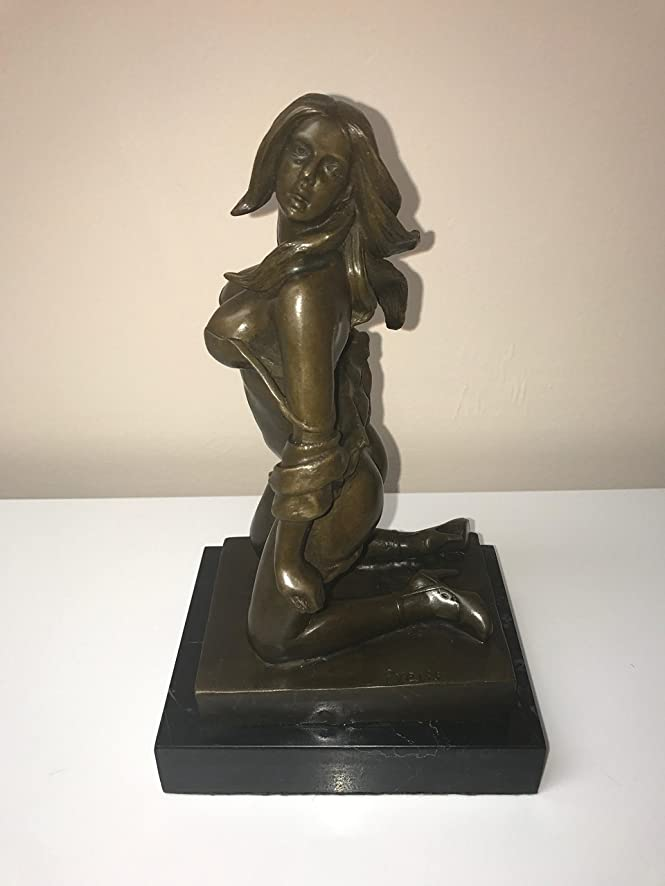 Bronze Brass Art sex decorations for bedroom - MASSIVE BREASTS AND ASS - CLOTHING FALLING OFF - WHIP BEHIND HER - READY FOR A NICE SPANKING - NAKED MODEL - SEXY BRONZE - sex decorations for adults