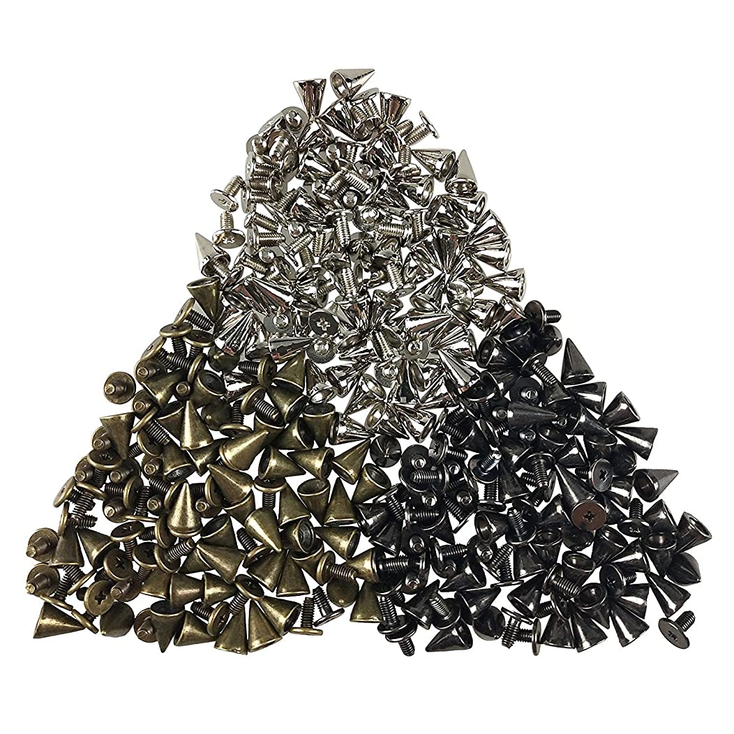 150PCS Cone Spikes Screwback Studs DIY Craft Cool Rivets Punk 7 X 10mm 1/4 inch X 3/8 inch (Silvery, Gun Black, Bronze) by CSPRING
