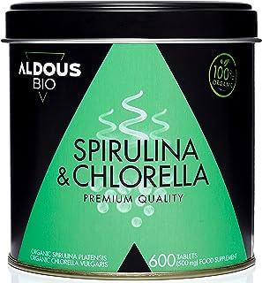 Chlorella y Espirulina Ecológica Premium para 6 meses   600 comprimidos de 500mg   Vegano - Saciante - DETOX - Proteína Ve...