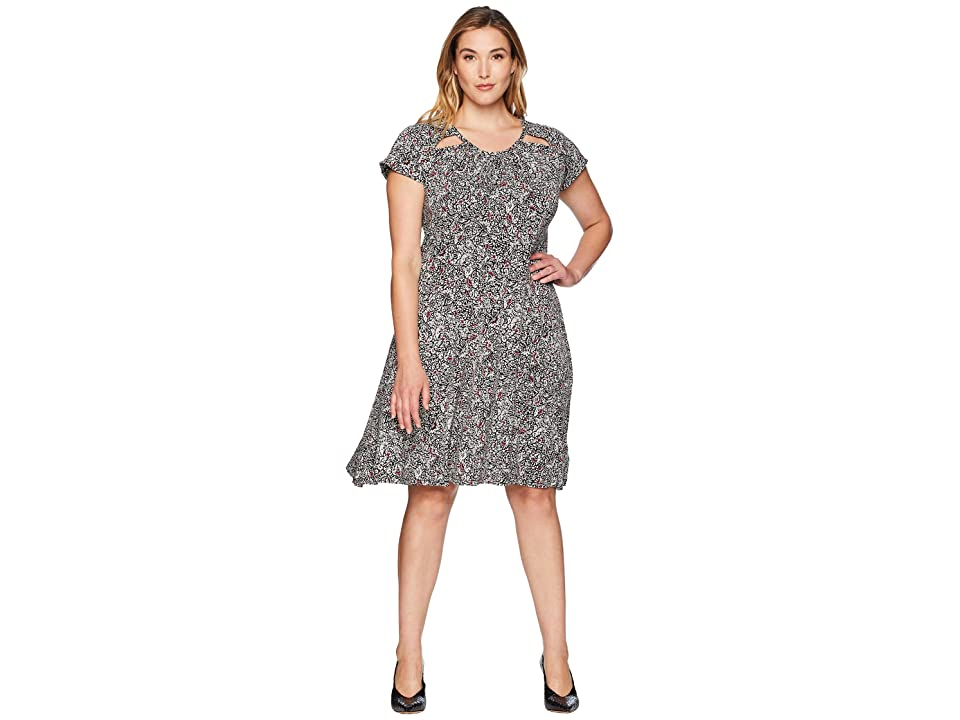 MICHAEL Michael Kors Plus Size Boho Block Print Dress (Black/Maroon) Women