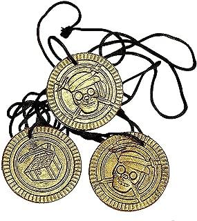 German Trendseller 12 x Piraten Halsketten ┃ Gold-Taler┃ Piraten Schatz ┃ Piraten Party ┃Seeräuber┃Schatzsuche ┃ Kindergeburtstag …