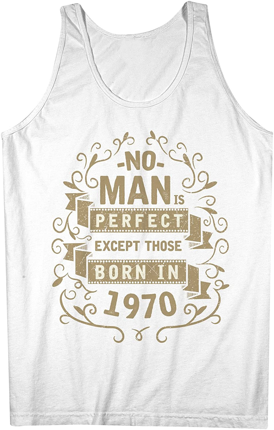 No Man Is Perfect Except Those Born In 1970 お誕生日 男性用 Tank Top Sleeveless Shirt