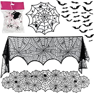 OWUDE 5 Pack Halloween Decorations Sets - Fireplace Mantel Scarf & Lace Tablecloth Runner & Round Table Cover & 60g Stretc...