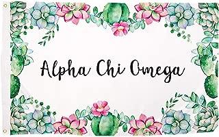 Desert Cactus Alpha Chi Omega Succulent Flower Sorority Flag Banner 3 x 5 Sign Decor