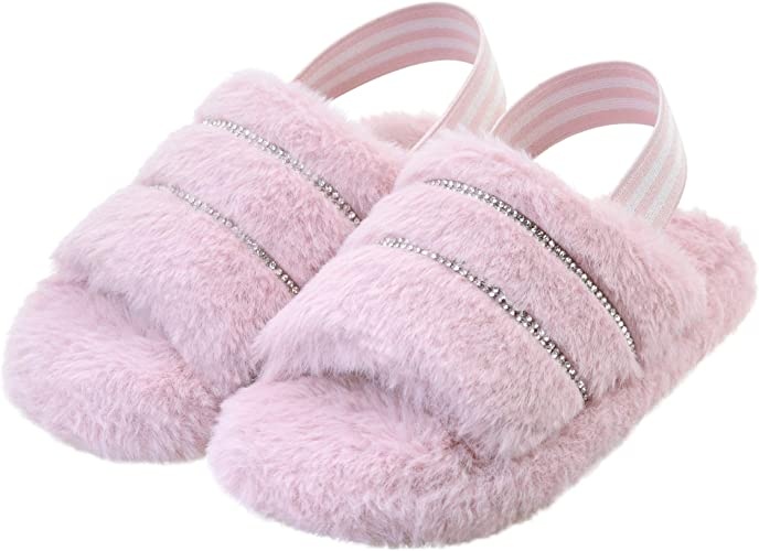 Vonair Kids Fuzzy Slide Slippers with Elastic Strap Toddler Fluffy Open Toe Home Slippers for Boys Girls Cozy Memory Foam Faux Fur Slip-on Leopard Pink House Shoes