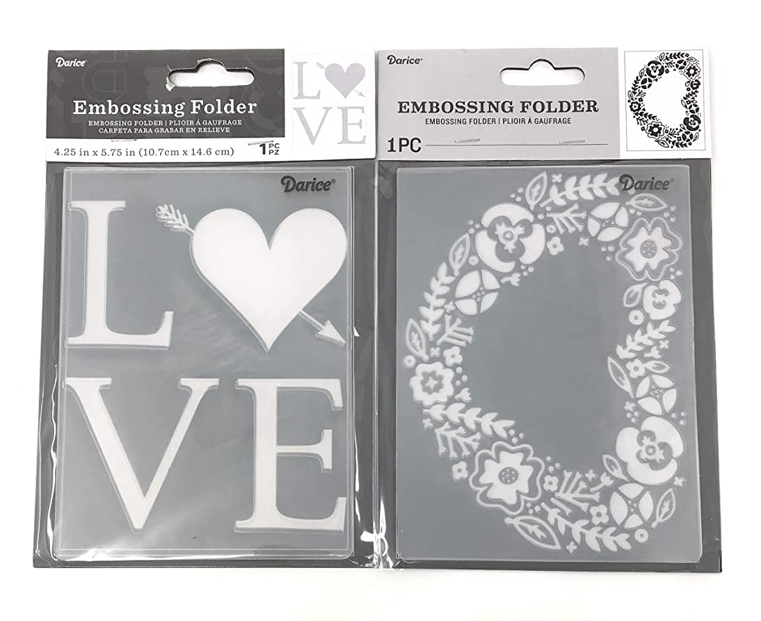 Darice Embossing Folder Bundle: Love and a Floral Heart Shaped Wreath, Each 4.25