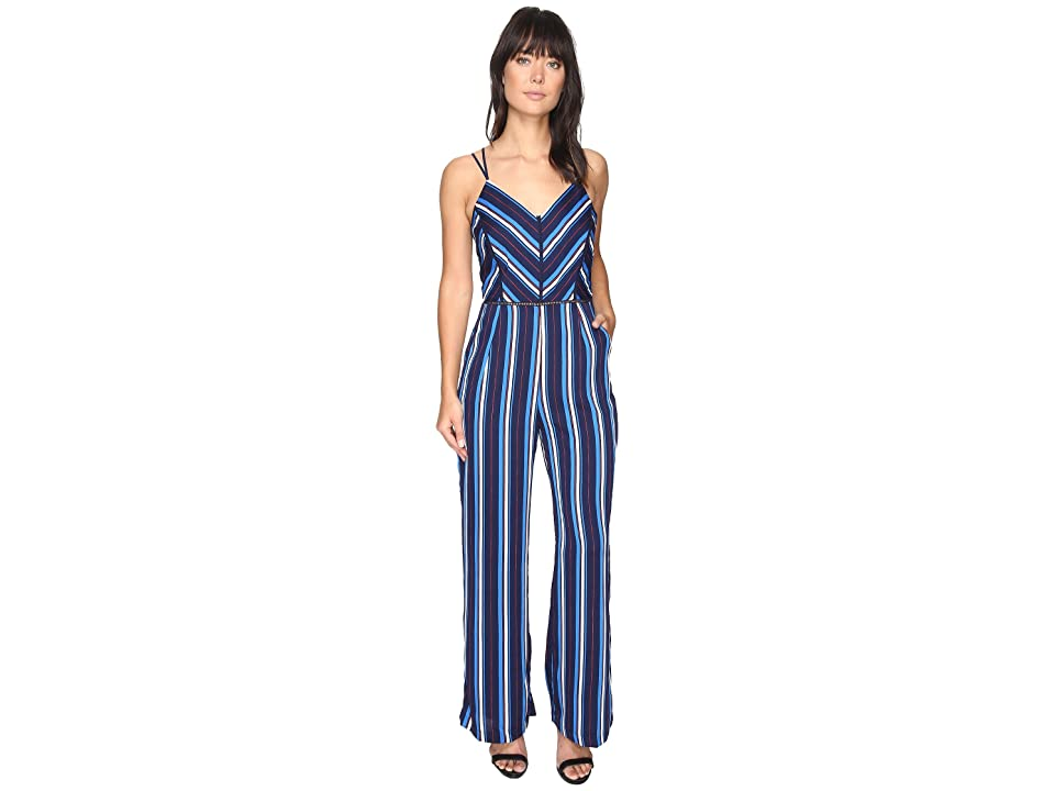 Image of Adelyn Rae Cynthia Woven Striped Jumpsuit (Blue Multi) Women's Jumpsuit & Rompers One Piece
