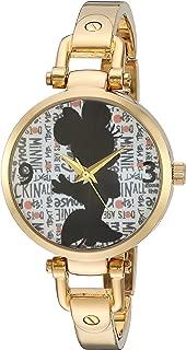 Disney Minnie Mouse Women's Gold Alloy Bridle Watch, Gold Alloy Bracelet, W002814