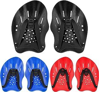 Skylety 3 Pairs Swim Paddles Hand, Swim Training Paddles Adjustable Diving Training Hand Fin Flippers Flat Paddles Swimmin...