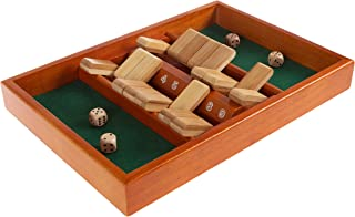 Shut The Box Game-Classic 9 Number Wooden Set with Dice Included-Old Fashioned, 2 Player Thinking Strategy Game for Adults and Children