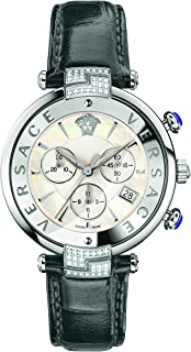 Women's 'REVE' Swiss Quartz Stainless Steel and Leather Casual Watch, Color:Grey (Model: VAJ070016)