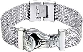 Bikers High Polished Stainless Steel Mesh Gothic Boxing Glove Charm Bangle Bracelet