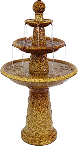 new arrival Sunnydaze Floral Motif 3 Tier Outdoor Water Fountain with LED Lights - Backyard Water Feature & Waterfall Garden Fountain for The Patio, Yard, & outlet online sale Deck - 2021 45 Inch Tall sale