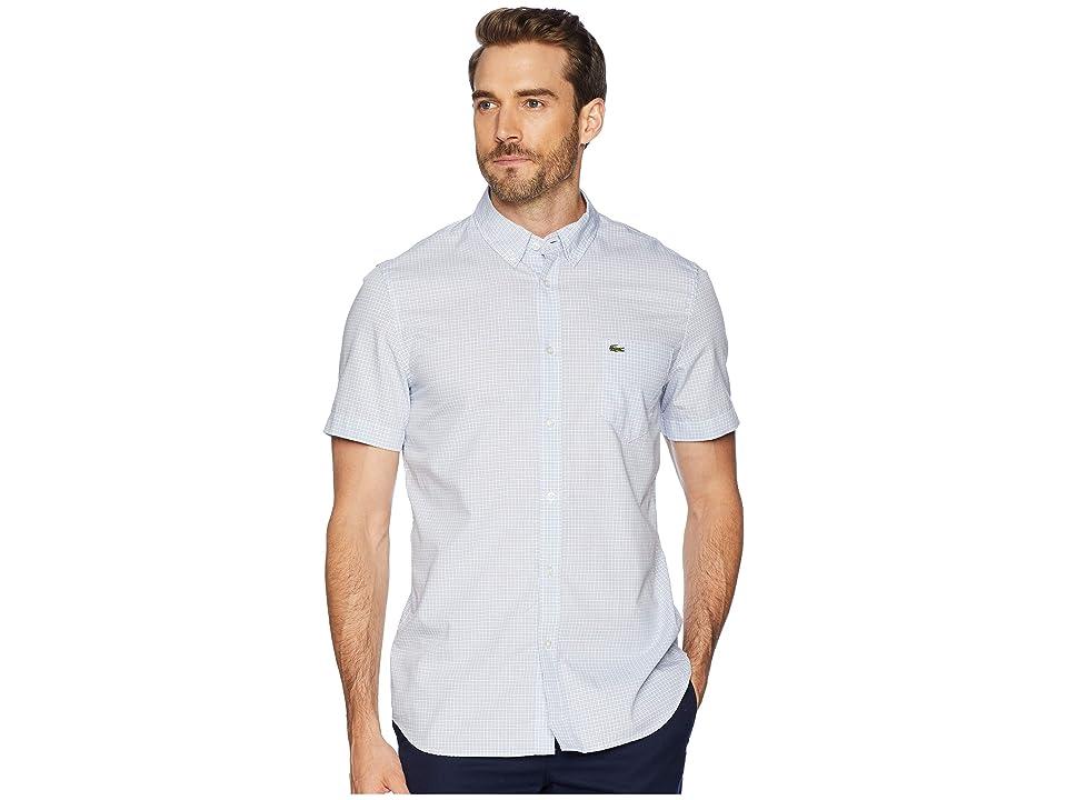 Lacoste Short Sleeve Regular Fit Gingham Poplin Button Down (Phoenix Blue/White) Men